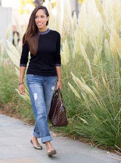 Black jeweled sweater and boyfriend jeans