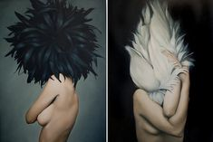 Avian Crown - British artist Amy Judd's oil paintings, mostly of faceless figures, are absolutely enchanting.