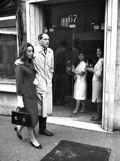Audrey Hepburn photographed with her husband Mel Ferrer in Rome, December 1959