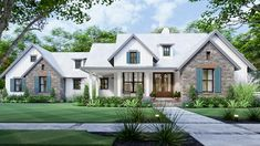 This 3 bedroom New American house plan welcomes you with an L-shaped front porch, a side-entry garage and a mixed-material exterior. French doors take you inside to the foyer (and also to the study). Cottage Style House Plans, Cottage Style Homes, Cottage Design, House Design, Cottage House, Farm House, Grandma's House, Country Homes, House Floor