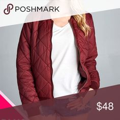 "PLUS--Quilted Padded Bomber Jacket. 100% Nylon. Burgundy Bomber Jacket. Measurements 1X 45"" B, 24""; 2X 46"" B, 24.5 L; 3X 47"" B, L 25"". Jackets & Coats"