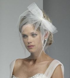 Wedding Veil  Tulle Birdcage with Bow and Broach  by AlisaBrides, $49.00