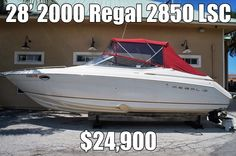 New Listing to Sovereign - 28' 2000 Regal 2850 LSC - Single 260hp 5.0 liter Mercruiser, Only 550 hours, Sleeps 4, Camper Package, Rack Stored Indoors, Full Cockpit Cover, Cabin Fridge, Cockpit Fridge, Microwave, Shore Power, Stove, Fresh Water, Aft Cockpit Shower, Sundeck with Cushions, Cockpit Table, Enclosed Head, Great Condition and Ready to Go! $24,900