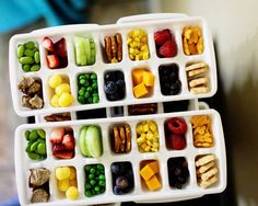 Ice cube trays for finger foods for kids parties. Great idea!  by: Jennifer Bishop Design