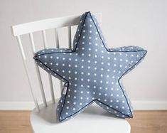 Star shaped pillow - blue gray