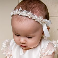 headband for blessing dress. Baby Girl Headband - Leila Collection - Exquisite Clothing for Babies Baptism Outfit, Christening Outfit, Christening Gowns, Baptism Clothes, Blessing Dress, Baby Blessing, Newborn Girl Headbands, Christening Headband, Baby Girl Christening