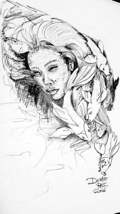 Koi fish surreal sketch by Derae Rai