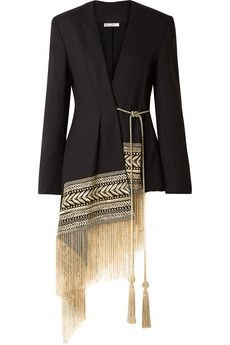 Oscar de la Renta – Fringed Embroidered Wool-blend Twill Wrap Jacket – Black The clothing culture is very old. Look Fashion, Hijab Fashion, Indian Fashion, Fashion Dresses, Womens Fashion, Fashion Design, Mode Hijab, Mode Outfits, Mode Inspiration