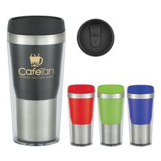 Take hold of your advertising efforts with the help of the 16 oz. auto mug! From tradeshows to car dealerships to fundraisers, this mug is made with double wall construction for insulation of hot or cold liquids. Featuring a screw on, spill resistant slide action lid and a plastic inner liner, this stylish and unique auto mug makes a bold first impression. Giveaway this BPA free product that meets FDA requirements at your next corporate event especially once imprinted with your logo or…
