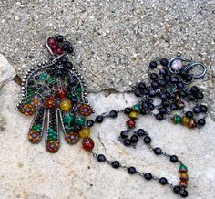 Long necklace Hamsa pendant colorful religious relic by chashway