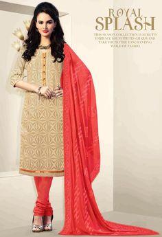 Exclusive Cream Chanderi Silk Salwar Kameez 36305