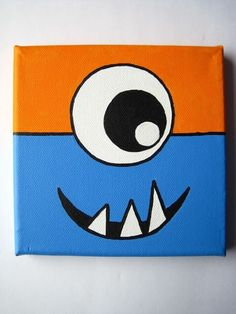 MONSTERS 6x6 inch Original painting on stretched canvas in blue and orange MORE COLORS available. $20.00, via Etsy.