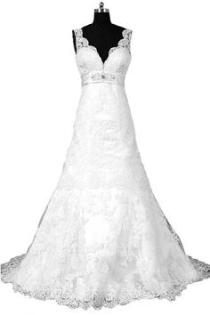 Sunvary Sexy Back Open Lace Mermaid Bride Dresses Wedding Gowns Long - US Size 2- White