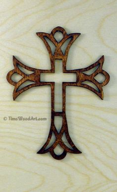 Crown Fretwork Wood Christian Cross, for Wall Hanging or Ornament, Item S5-6