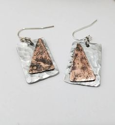 OOAK upcycled mixed metal triangle rectangle riveted earrings