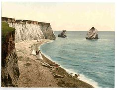 new to site Isle of Wight, Freshwater Bay Arch and Stag Rocks, England