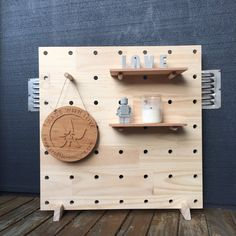 Ecofriendly Solid Pine Peg Board, Wooden Peg Board with Large Dowel Pegs, Market Display, 60cmx60cm Pegboard