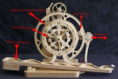 Woodworking plans for wooden geared clocks, kinetic sculptures, and celestial instruments. Wooden Gear Clock, Wooden Gears, Wood Clocks, Cad Programs, Wooden Watch, Wood Accents, Woodworking Plans, Stationary, Sculptures