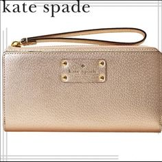 Kate Spade 14k gold zip wristlet BRAND NEW Kate Spade 14k gold Saffiano Leather, zip wristlet. Product                    Features Designed for use with most cell phones (including IPhone 6 Plus)  Saffiano leather construction Offers a sleek, stylish design.  Zippered closure Provides easy access to your device, as well as other essentials like cash and an ID.  Built-in wrist strap Keeps your device and essentials close at hand. MICHAEL Michael Kors Bags Clutches & Wristlets