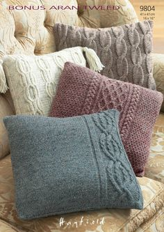 Pillow Cases in Hayfield Bonus Aran Tweed with Wool - 9804. Discover more Patterns by Hayfield at LoveKnitting. The world's largest range of knitting supplies - we stock patterns, yarn, needles and books from all of your favorite brands.