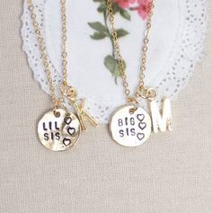 Big Sis Lil Sis necklaces set of two personalized by madebypepper, $38.00