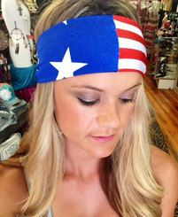 "Handmade Stars and Stripes Stretch 4"" Thick Fashion Adult Headband"