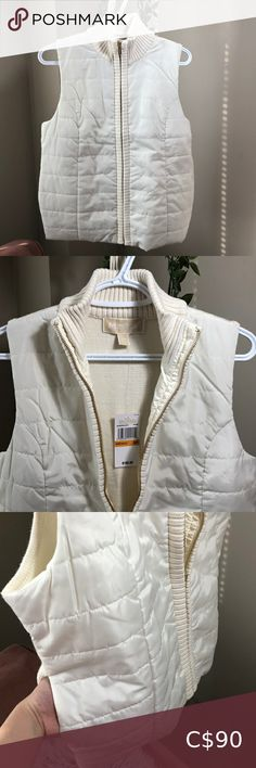 Shop Women's Michael Kors White size SP Vests at a discounted price at Poshmark. Michael Kors Jackets, Plus Fashion, Fashion Tips, Fashion Trends, Vests, Jackets For Women, Ruffle Blouse, Coat, Outfits