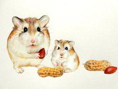 Original Hamster art Robo hamster painting cute by KingfisherHaven