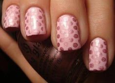 30 Trendy Nail Art Designs (light pink base with darker pink glossy polka dots featured in pic)