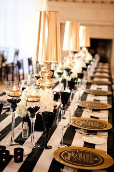 Black and White Striped Tablecloth, Gold lamps
