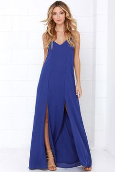 LuLu*s Exclusive! You'll deserve nothing less than a series of hip hip hoorays for how stunning you'll look in the Plume Oneself Royal Blue Maxi Dress! Lightweight woven poly falls from a triangle bodice with spaghetti straps, then forms a looping feature at back above a sexy keyhole. Princess seams flow down the bodice, meeting high symmetrical side slits that add flirt to the maxi skirt. Fully lined. 100% Polyester. Hand Wash Cold. Imported.