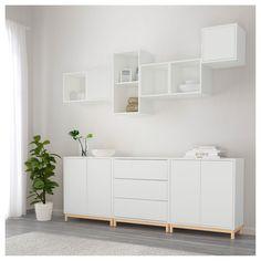 EKET cabinet combination / base - white / light gray - IKEA Best Picture For parent room workplace F Ikea Inspiration, Ikea Wall Decor, Room Decor, White Sideboard Ikea, Ikea Buffet, Sideboard Ideas, Ikea Dresser, Ikea Eket, Muebles Living