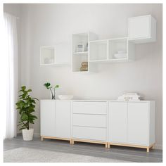 EKET cabinet combination / base - white / light gray - IKEA Best Picture For parent room workplace F White Sideboard Ikea, Ikea Buffet, Ikea Sideboard Hack, Sideboard Ideas, Ikea Dresser, Ikea Inspiration, Ikea Wall Decor, Decor Room, Ikea Eket