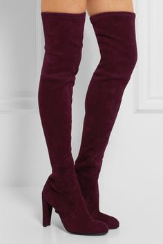 Heel measures approximately 90mm/ 3.5 inches Burgundy stretch-suede Pull on   Designer color: Bordeaux Made in Spain