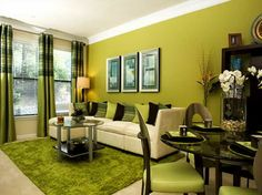 Modern Living Room With Various Shades Of Green   Living Room Decor | Living  Room Design