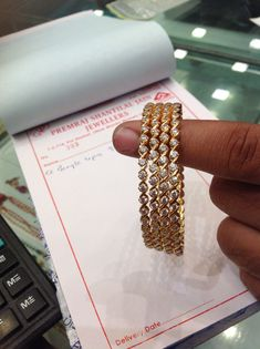 Bangle  czs 80 gms #diamondbangle Plain Gold Bangles, Ruby Bangles, Gold Bangles Design, Gold Earrings Designs, Bangle Bracelets, Necklaces, Antique Jewellery Designs, Diamond Bangle, Diamond Jewelry