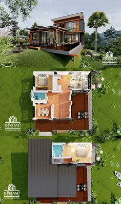 This two story modern style house design can be used for sloping lot as shown below. Due to the spacious deck area, it serve as a view deck to witness the wide horizon in front or back depending on the location. Modern Bungalow House Design, Modern Small House Design, Modern Style Homes, House Layout Plans, House Layouts, Two Story House Design, Two Story House Plans, House Deck, Facade House