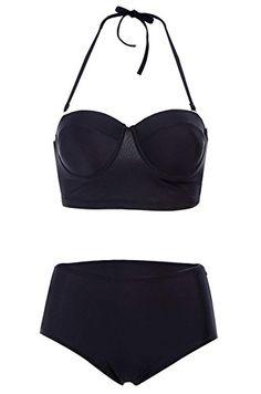 Imixcity®Womens Bikini Set Sexy High Waisted Bathing Push Up Bandeau Swimwear Fashion Swimsuit (Asain L/UK 10-12, Black) Imixcity http://www.amazon.co.uk/dp/B0105DXZJE/ref=cm_sw_r_pi_dp_yd6Hvb1CX85WA