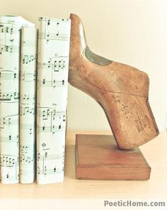 repurposed shoe form bookends