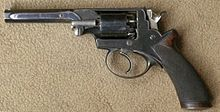 Adams cal .36 revolver. The revolver used a double-action only system in which the external hammer could not be cocked by thumbing it back, like most other pistols of the era, but instead cocked itself when the trigger was pulled. This made it possible to fire the gun much more rapidly than contemporary single-action revolvers, such as the Colt, which had to be cocked before each shot