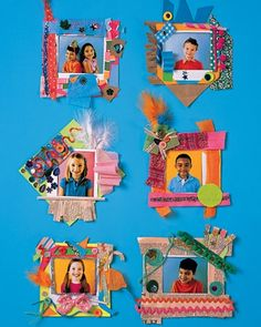 Paper picture frames – These frames are a fun and easy craft for kids to make in groups at parties.  Take photos of guests with an instant camera. Kids can mat them to precut card-stock squares and then embellish the borders. Add self-adhesive magnets to the back for hanging on the fridge.—Love It! Great end of the school kindergarten project for parents! Will be trying!