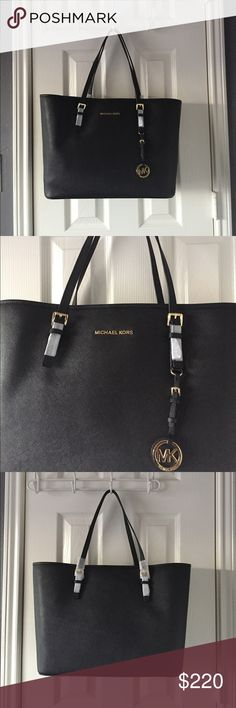 NEW LISTING! MICHAEL KORS Jet Set Travel Tote Brand New MICHAEL Michael KORS jet set travel saffiano leather small tote in black. Price is negotiable for serious buyers, please use the offer button. Thanks. MICHAEL Michael Kors Bags Totes