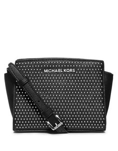 Michael Michael Kors Selma Leather Micro Stud Mini Messenger Bag Black