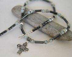 Men's Antiqued Silver Cross Necklace Hematite and Quartz