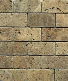 3x6 Tuscany Noce Travertine Brick Pattern Tumbled Finish Mosaic Tile
