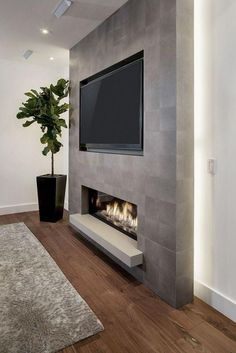 Living Room Tv Wall Decor Ideas Fire Places 40 Ideas For 2019 Fireplace Tv Wall, Basement Fireplace, Fireplace Design, Fireplace Ideas, Linear Fireplace, Fireplace Feature Wall, Tv Feature Wall, Wall Tv, Concrete Fireplace