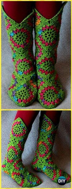 Crochet High Knee Granny Square Slipper Boots Patterns - Crochet High Knee Crochet Slipper Boots Patterns