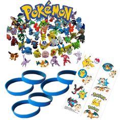 Pokemon Tattoos, Figures, Blue Wristbands - Pokemon Party Favor Set