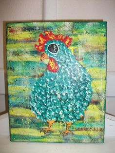 folk art chicken signs | Green Girl - Chicken Folk Art by Mr. Eddie - Original Acrylic Painting ...