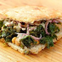 Braised Kale and Chickpea Sandwich with Sumac Onions by Serious Eats